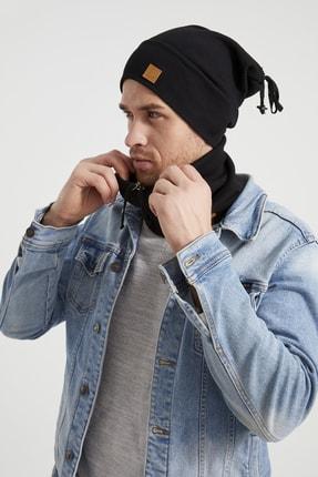 Butikgiz Erkek Genç Atletik Siyah Ip Detaylı Şapka Bere Boyunluk Takım -spor, Rahat, %100 Pamuklu,el Yapımı 1