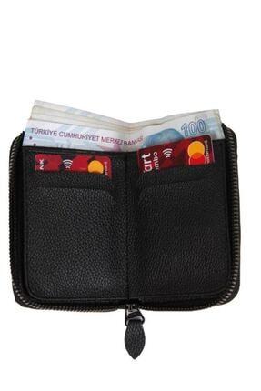Kenpool Unisex 7 Bölmeli Fermuarlı Siyah S.deri Kredi Kartlık Cüzdan Knp-10s 3
