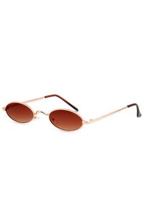 Kapin Ince Elips Güneş Gözlüğü - Kahverengi Degrade 0