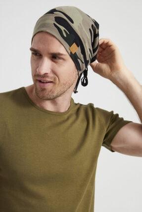 Butikgiz Erkek Haki, Kamuflaj Desenli, Ip Detaylı 4 Mevsim Şapka Bere Buff -ultra Yumuşak Doğal Penye Kumaş 1