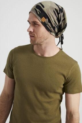 Butikgiz Erkek Haki, Kamuflaj Desenli, Ip Detaylı 4 Mevsim Şapka Bere Buff -ultra Yumuşak Doğal Penye Kumaş 3