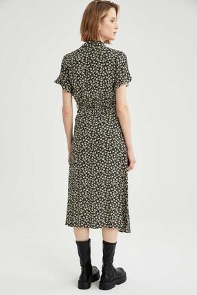 Defacto Kadın Siyah Volanlı Kol Detaylı Kuşaklı Gömlek Elbise 2