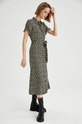 Defacto Kadın Siyah Volanlı Kol Detaylı Kuşaklı Gömlek Elbise 4