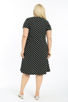 LİKRA Kadın Siyah Puantiye Desen Esnek Örme Krep Elbise 2