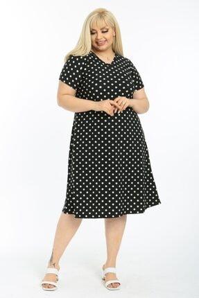LİKRA Kadın Siyah Puantiye Desen Esnek Örme Krep Elbise 4