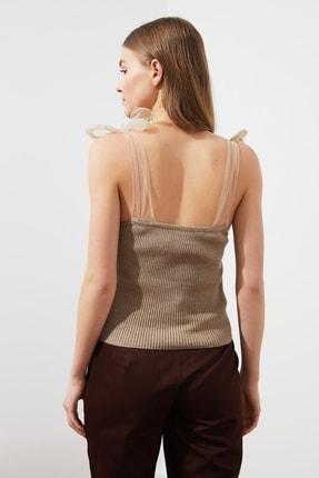 TRENDYOLMİLLA Vizon Tül Detaylı Triko Bluz TWOSS21BZ0120 4
