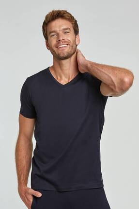 Hemington Erkek Lacivert V Yaka Basic T-shirt 0