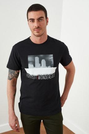 TRENDYOL MAN Siyah Erkek Baskılı Regular Fit T-Shirt TMNSS20TS1509 0