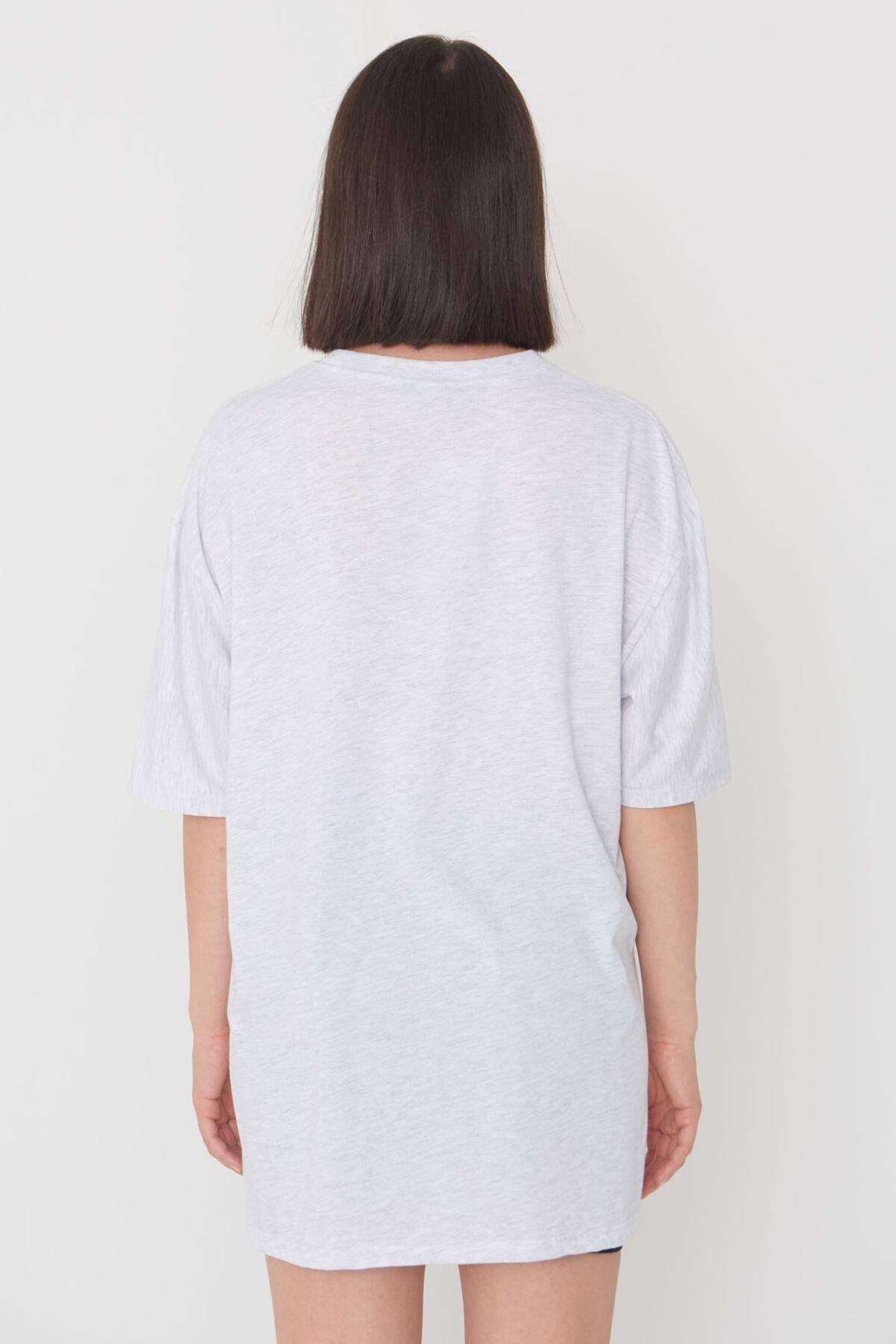 Addax Baskılı Oversize T-shirt P9551 - C11 4