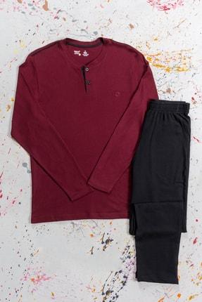 BSM Erkek Bordo Pamuklu Modal Düğmeli Mevsimlik Pijama Takımı 0