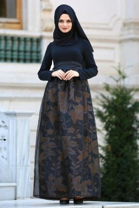 Tesettürlü Abiye Elbise - Hardal Tesettür Abiye Elbise 21090hr
