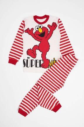 Picture of Unisex Çocuk Kırmızı Canavar Baskılı Pijama Takımı