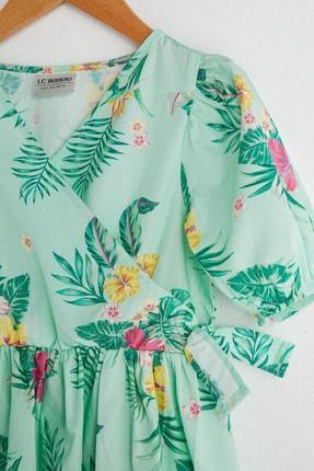 LC Waikiki Kız Çocuk Nane Yeşili Bask Lrl Elbise 2