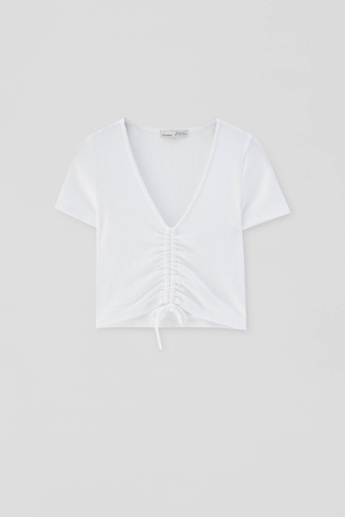 Pull & Bear Kadın Beyaz Önü Büzgülü Fitilli Top 04241303 3