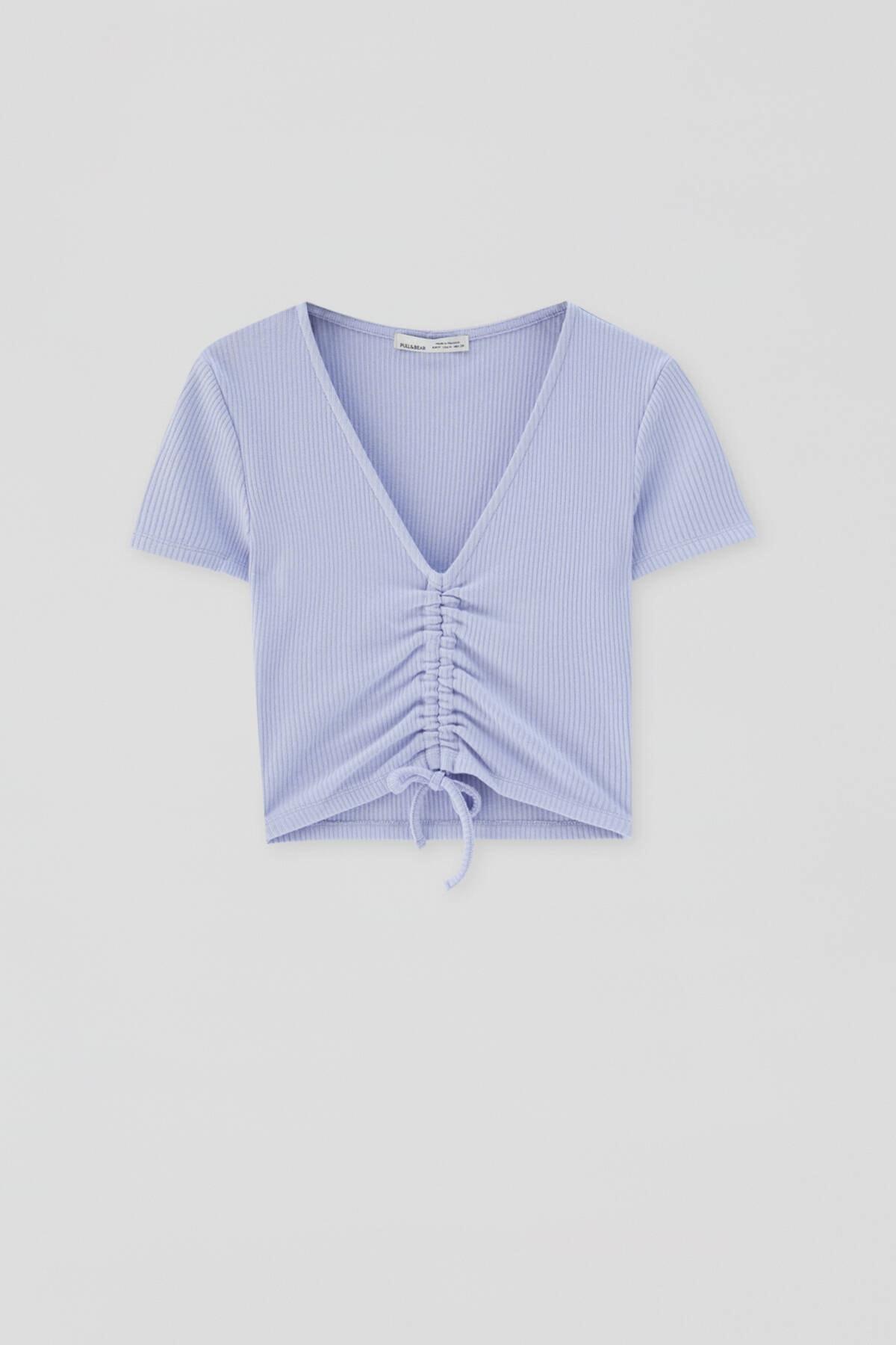 Pull & Bear Kadın Mavi Önü Büzgülü Fitilli Top 04241303 3