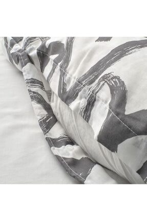 IKEA Tek Kişilik Nevresim Takımı Meridyendukkan Beyaz-gri 150x200/50x60 Cm 2