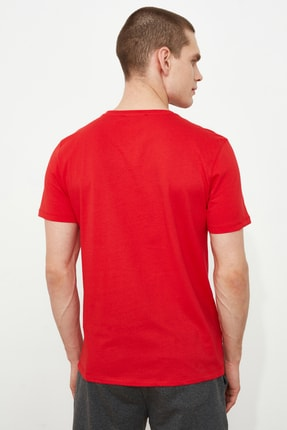 TRENDYOL MAN Kırmızı Erkek Baskılı Slim Fit T-Shirt TMNSS20TS0079 3