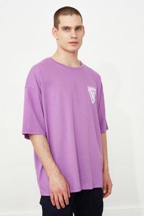 TRENDYOL MAN Mor Erkek Baskılı Oversize Kısa Kollu T-Shirt TMNSS20TS1102 0