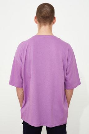 TRENDYOL MAN Mor Erkek Baskılı Oversize Kısa Kollu T-Shirt TMNSS20TS1102 4