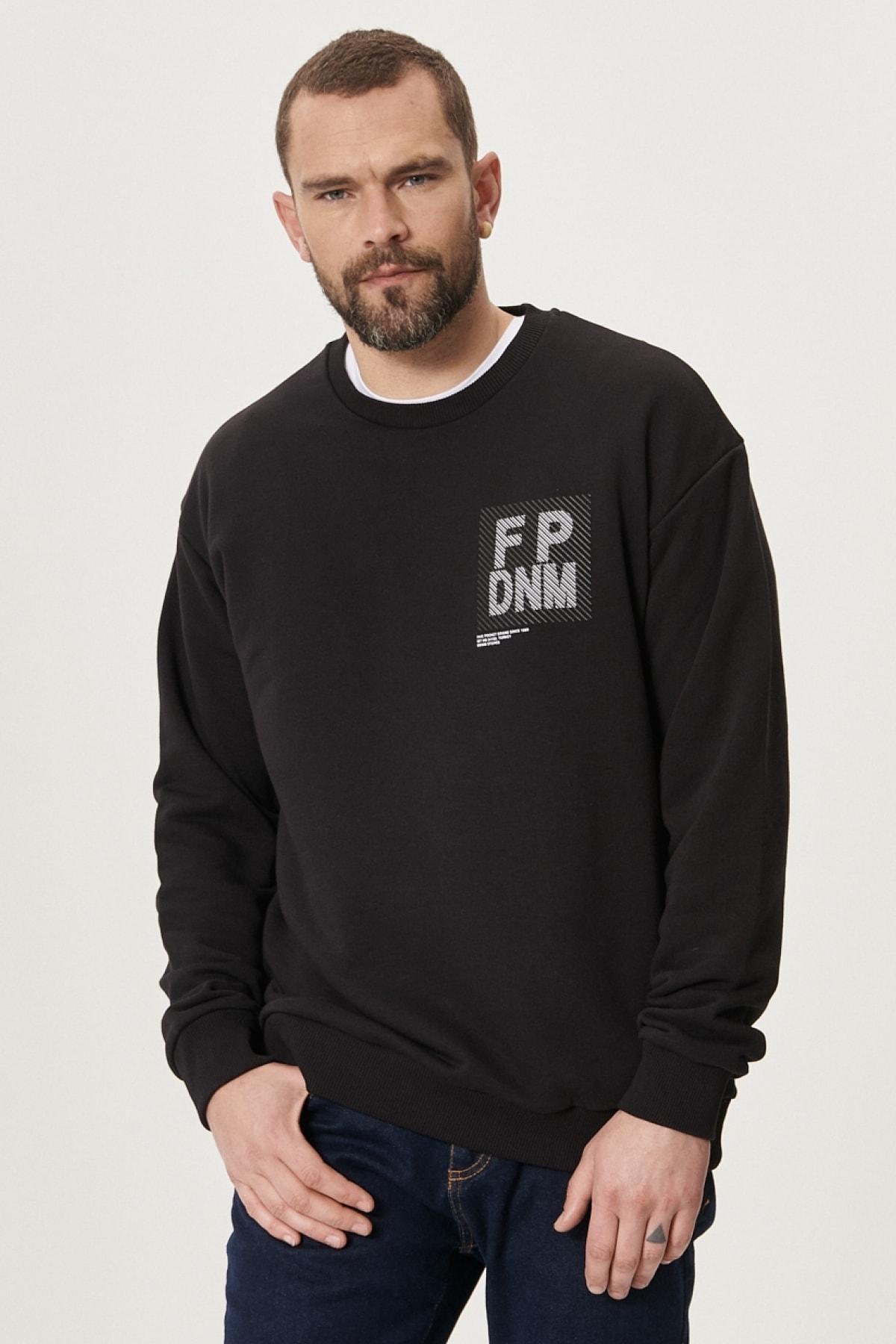 Erkek Siyah Oversize Günlük Rahat Spor Sweatshirt