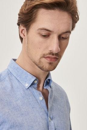 Altınyıldız Classics Erkek K.MAVI Tailored Slim Fit Dar Kesim Düğmeli Yaka Keten Gömlek 1