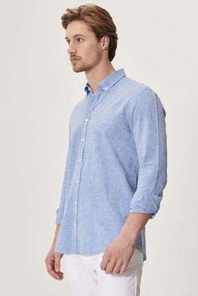 Altınyıldız Classics Erkek K.MAVI Tailored Slim Fit Dar Kesim Düğmeli Yaka Keten Gömlek 2