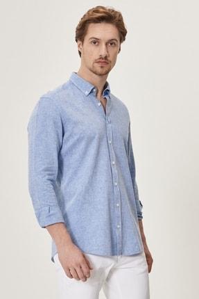 Altınyıldız Classics Erkek K.MAVI Tailored Slim Fit Dar Kesim Düğmeli Yaka Keten Gömlek 3