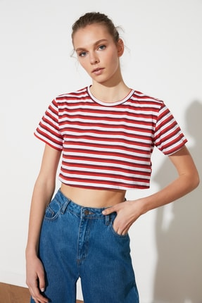TRENDYOLMİLLA Kırmızı Çizgili Super Crop Örme T-Shirt TWOSS21TS1134 0