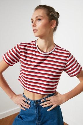 TRENDYOLMİLLA Kırmızı Çizgili Super Crop Örme T-Shirt TWOSS21TS1134 1