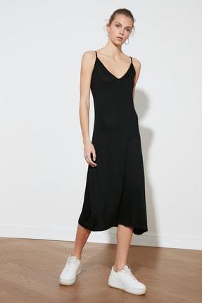 TRENDYOLMİLLA Siyah Askılı Örme Elbise TWOSS19VG0313 0