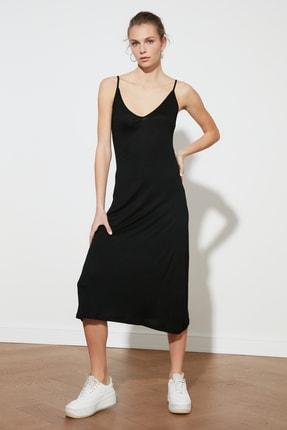 TRENDYOLMİLLA Siyah Askılı Örme Elbise TWOSS19VG0313 2