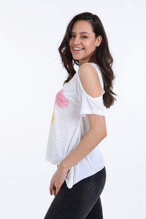 Trender Polo Trender 610 Kadın Devore Omuz Dekolte T-shirt Ekru 1