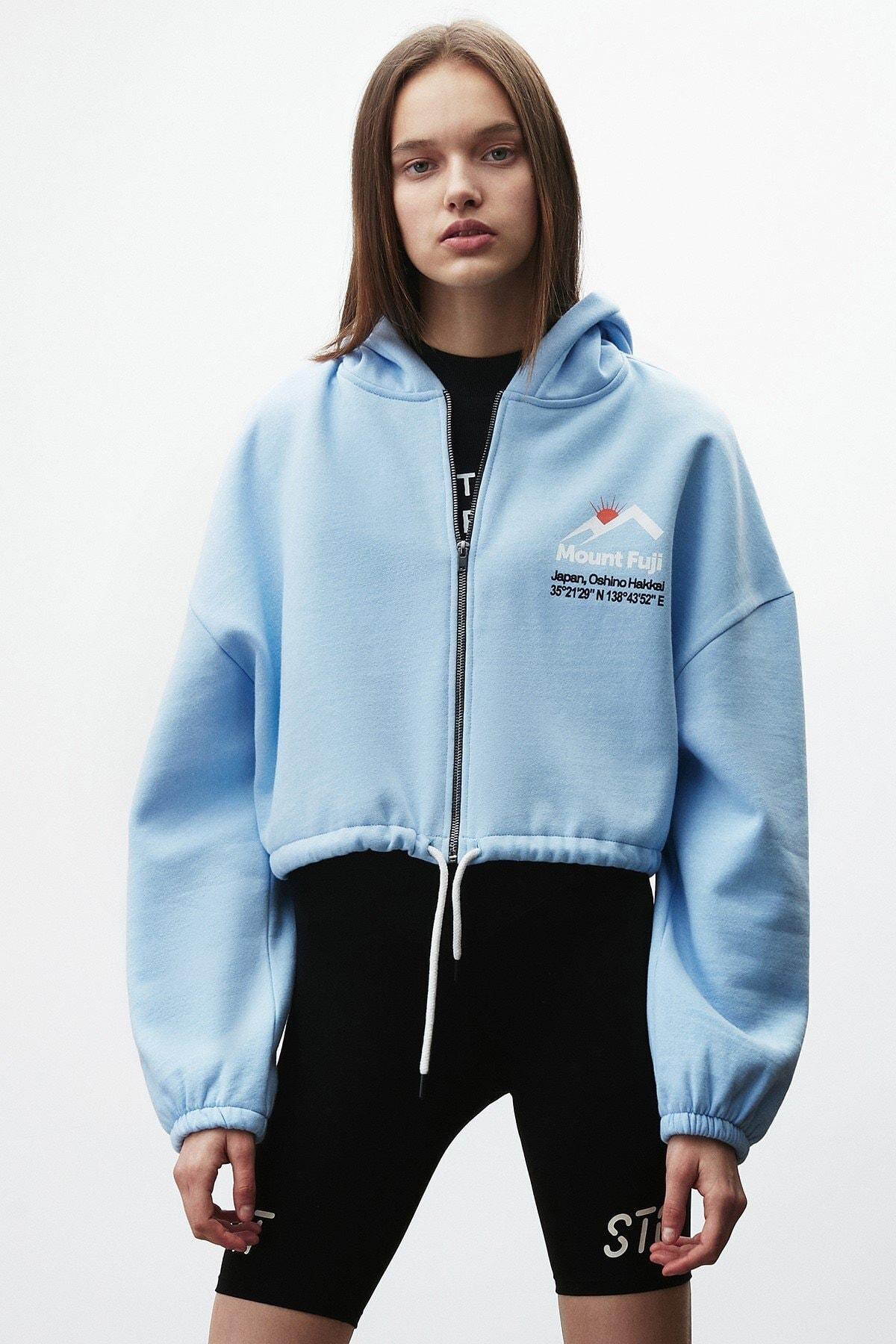 SILK Kadın Mavi Fermuarlı Kapüşonlu Sweatshirt