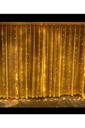 tahtakaleShop 16 Saçaklı 3 Metre X 3 Metre Dekoratif 320 Led Işık Sarkıt Sarı Renk İp Perde 1