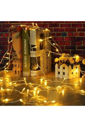 tahtakaleShop 16 Saçaklı 3 Metre X 3 Metre Dekoratif 320 Led Işık Sarkıt Sarı Renk İp Perde 2