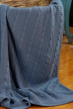 Elart Mavi Akrilik  Çift Kişilik Örgü Battaniye 200x220cm 0