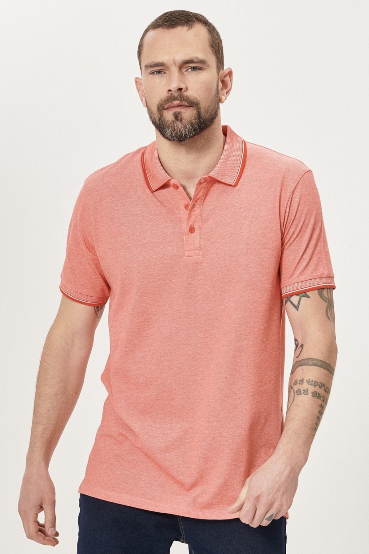 Erkek NARCICEGI-BEYAZ Düğmeli Polo Yaka Cepsiz Slim Fit Dar Kesim Düz Tişört