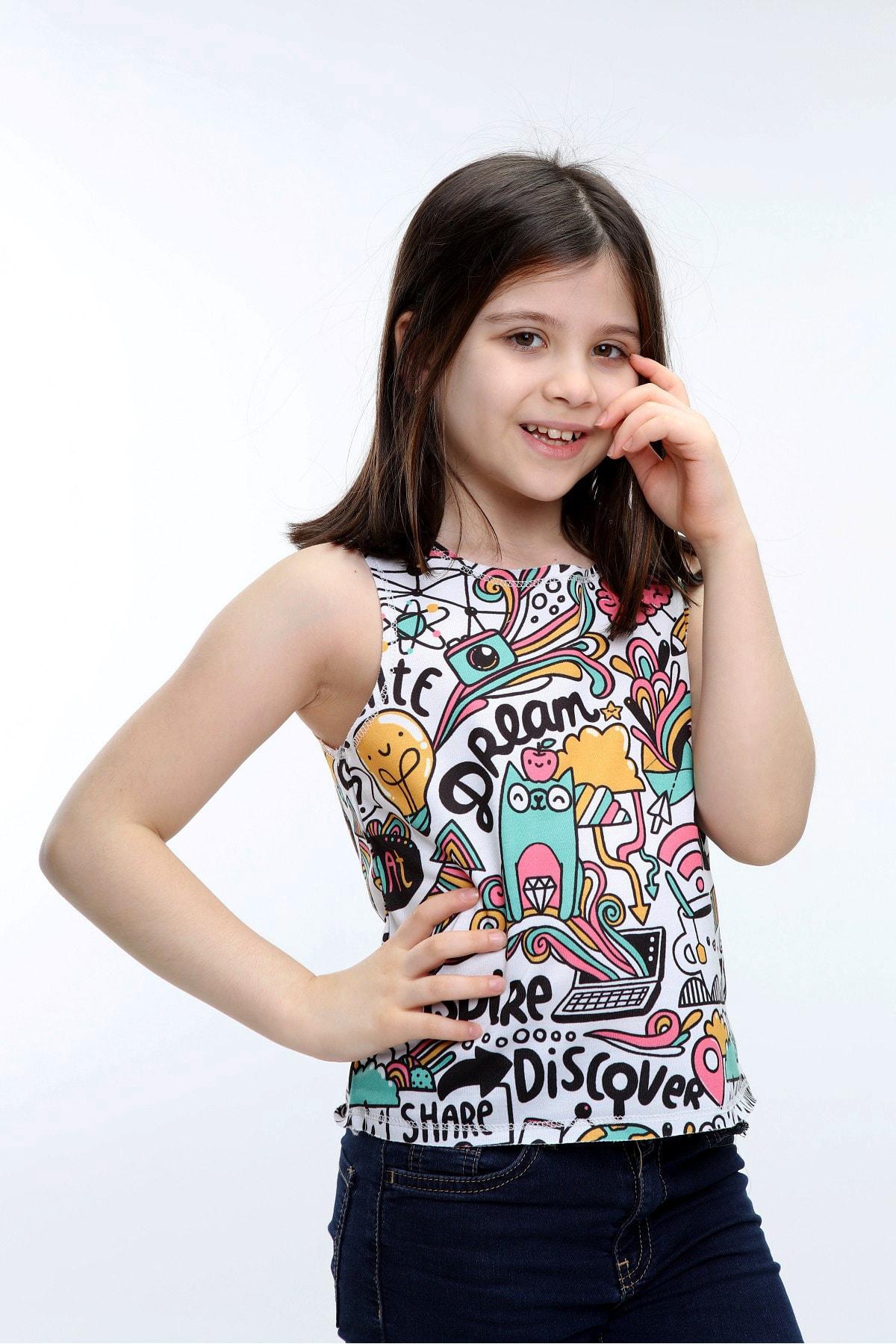 Kız Çocuk Beyaz Elbise Batik Sıfır Kol Pis Dikiş T-shirt
