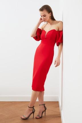 TRENDYOLMİLLA Kırmızı Puf Kollu Elbise TPRSS20EL1436 2
