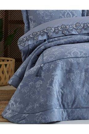 Elart Mavi Rita Nevresimli Çift Kişilik Yatak Örtüsü Seti 1
