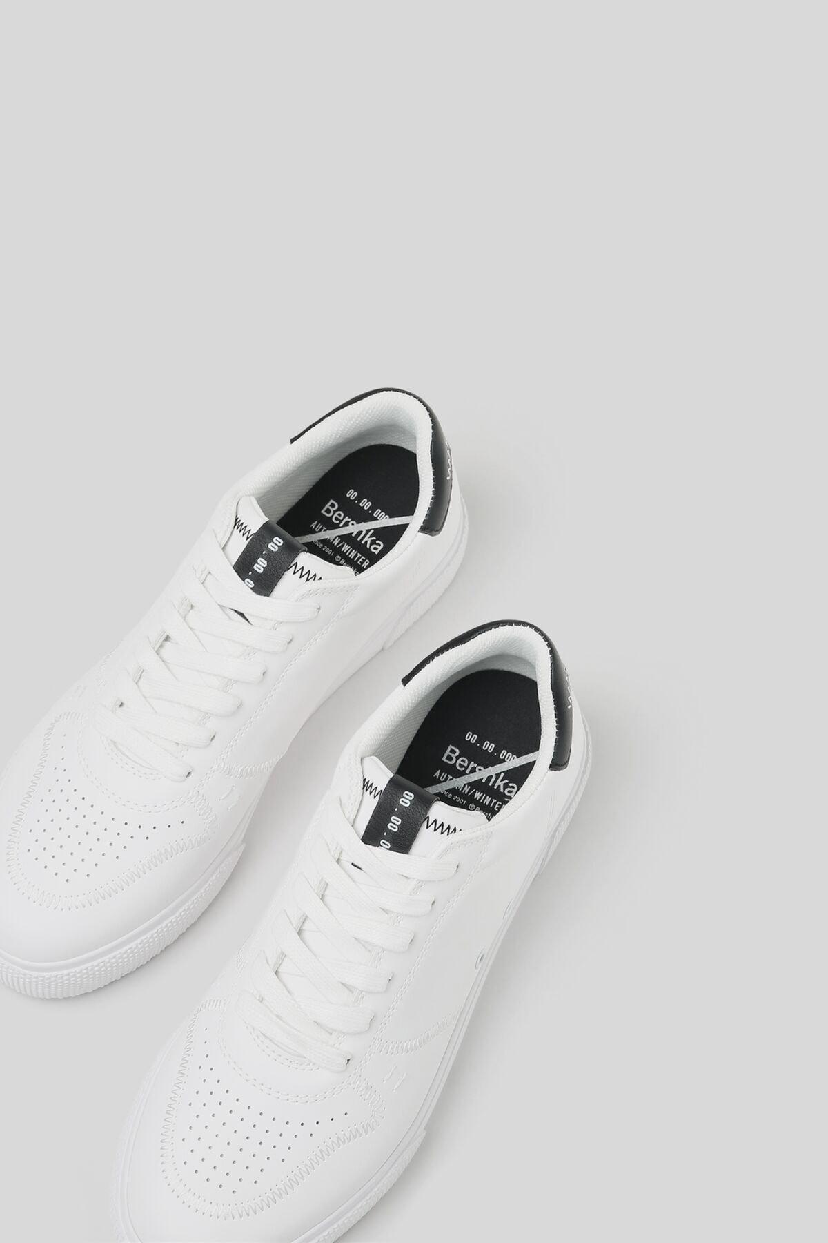 Bershka Erkek Beyaz Kontrast Spor Ayakkabı 12400760 1