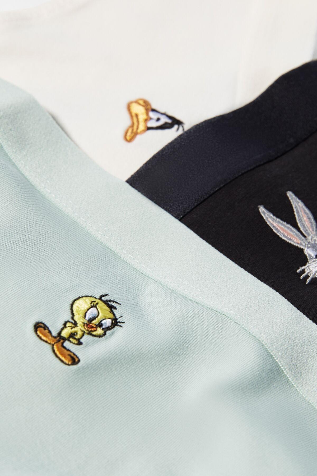 Bershka Kadın 3'Lü Looney Tunes Külot Paketi 04171187