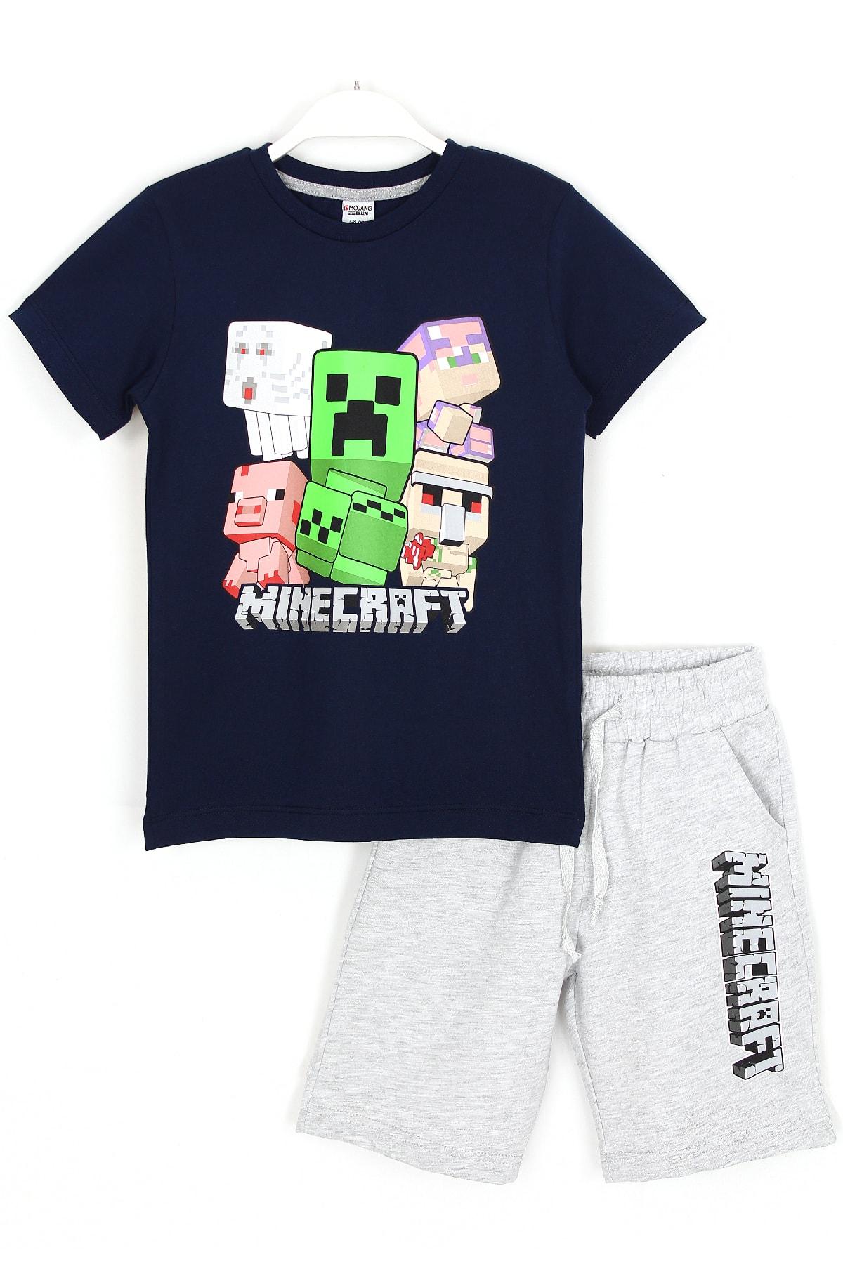 Erkek Çocuk Lacivert Minecraft T-shirt Şort Alt Üst Takım 5 - 13 Yaş