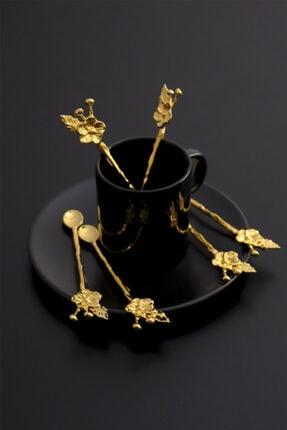 Planet X 6 Kişilik Lüx Çay Kaşığı Gold Japon Gülü 3