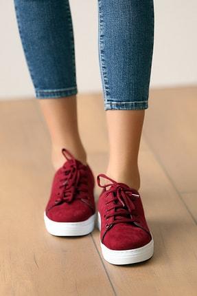 Pembe Potin Kadın Bordosüet Ayakkabı 2