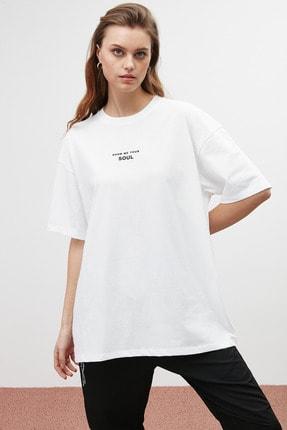GRIMELANGE SOUL Kadın Beyaz Baskılı Oversize T-shirt 3