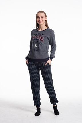 Feyza Kadın Pijama Takımı Uzun Kol Newyork Baskı Alt Çizgili 0