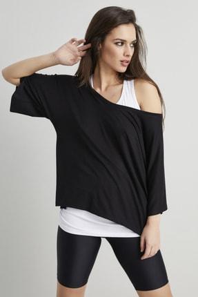 Cool & Sexy Kadın Siyah-Beyaz İkili Salaş T-shirt BK1101 0