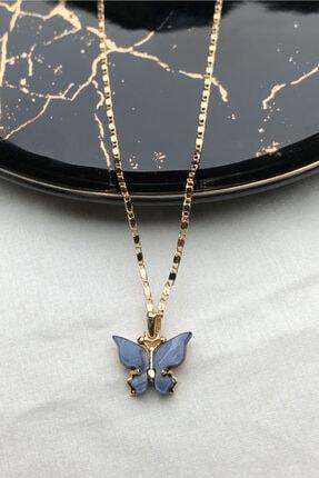 modadern Kadın Gold Lacivert Taşlı Kelebek Kolye 0