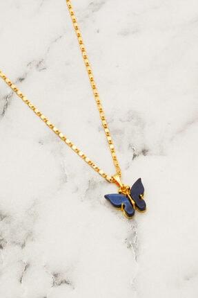 modadern Kadın Gold Lacivert Taşlı Kelebek Kolye 1